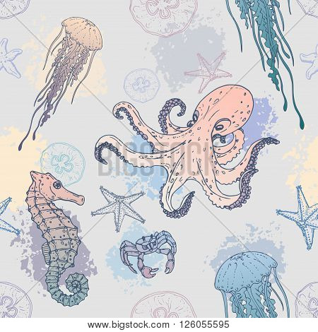 Seamles marine pattern sea creatures. Background with marine life. Vector