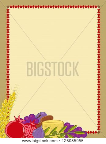 Shavuot blank sign with the holiday symbols. Eps10