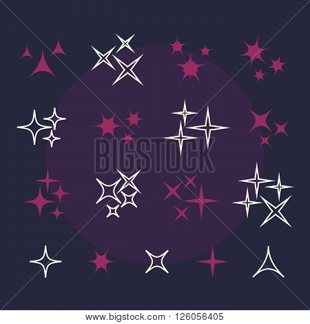 Shine stars with glitters and sparkles. Effect twinkle, design glare, scintillation element sign, graphic light vector illustration