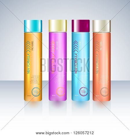 Bottles with sample labels for shower gel or shampoo  cosmetic package design template