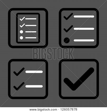 Valid vector bicolor icon. Image style is a flat icon symbol inside a square rounded frame, black and white colors, gray background.