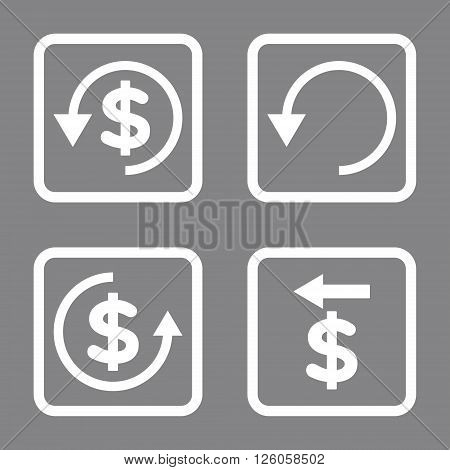 Chargeback vector icon. Image style is a flat icon symbol inside a square rounded frame, white color, gray background.