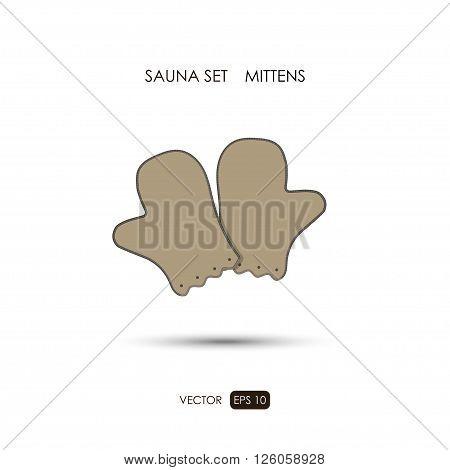 Mittens. Sauna accessories on a white background.