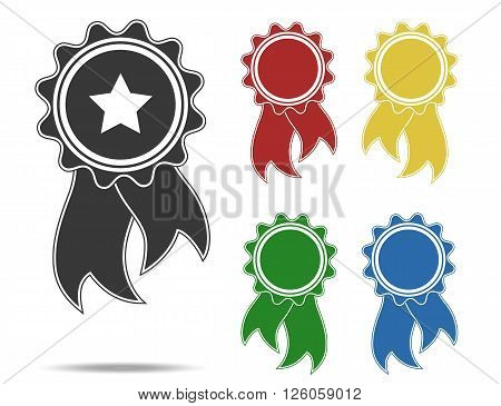 various color rosettes, flat vector award icons