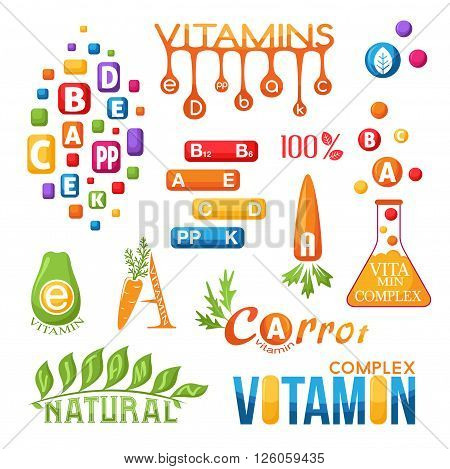 Vitamins emblems set. Labels and icons for design