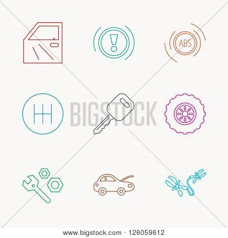 Car key, repair tools and manual gearbox icons. Wheel, warning ABS and battery terminal linear signs. Linear colored icons.