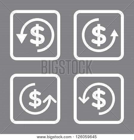 Refund vector icon. Image style is a flat icon symbol inside a square rounded frame, white color, gray background.