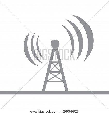 Gray antenna silhouette isolated on white background. eps10