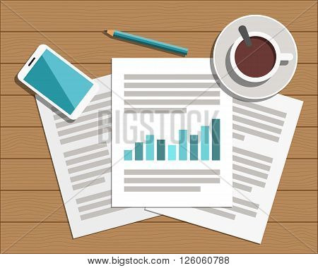 Flat Style Modern Design of Office Workplace. Icons set of business work flow items on wood table. Working or studying concept. Top view. Vector Illustration