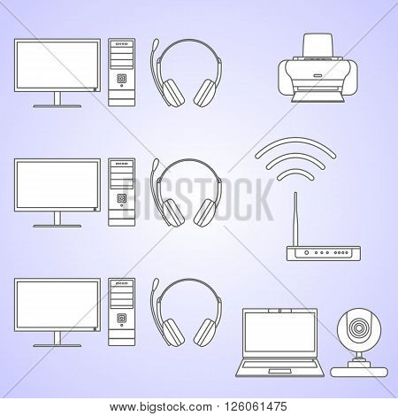 Silhouette illustration different kind of digital devices and tools on green background. Set of digital devices and tools in flat style.