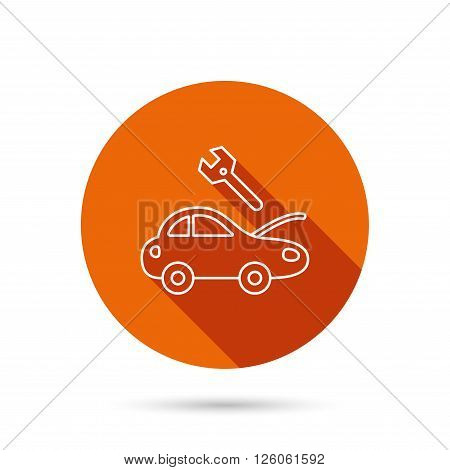 Car service icon. Transport repair with wrench key sign. Round orange web button with shadow.