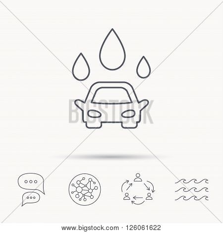 Car wash icon. Cleaning station with water drops sign. Global connect network, ocean wave and chat dialog icons. Teamwork symbol.