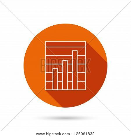 Chart icon. Graph diagram sign. Demand growth symbol. Round orange web button with shadow.