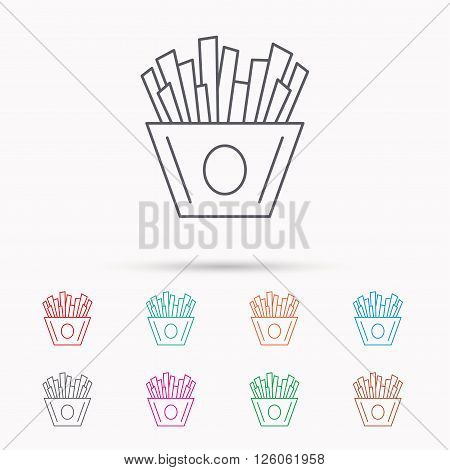 Chips icon. Fries fast food sign. Fried potatoes symbol. Linear icons on white background.