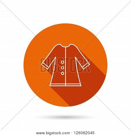 Cloak icon. Protection jacket outerwear sign. Gardening clothes symbol. Round orange web button with shadow.