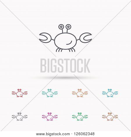 Crab icon. Cancer shellfish sign. Wildlife symbol. Linear icons on white background.