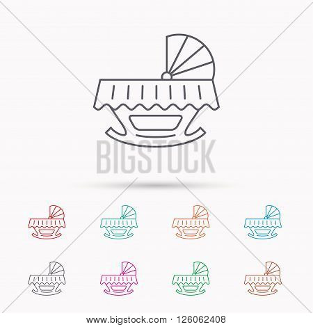 Baby cradle bed icon. Child crib sign. Newborn sleeping cot symbol. Linear icons on white background.