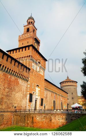 Old Castello Sforzesco entrance in Milan Italy