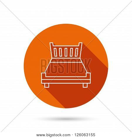 Double bed icon. Sleep symbol. Round orange web button with shadow.