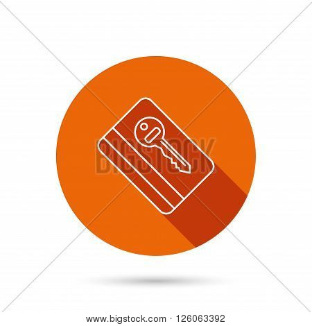 Electronic key icon. Hotel room card sign. Unlock chip symbol. Round orange web button with shadow.