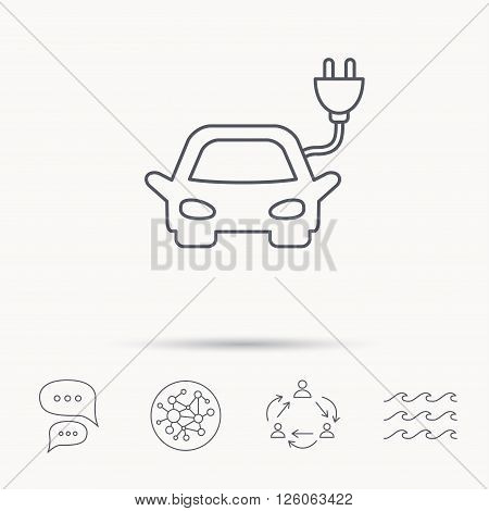 Electric car icon. Hybrid auto transport sign. Global connect network, ocean wave and chat dialog icons. Teamwork symbol.