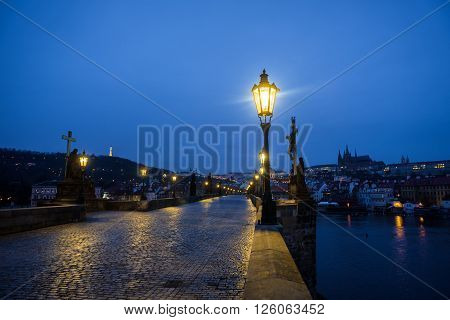 Charles Bridge in Prague at dawn Czech Republic in black and white