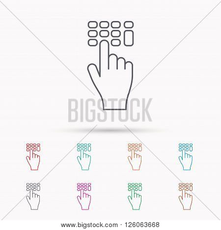 Enter pin code icon. Click hand pointer sign. Linear icons on white background.