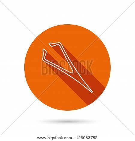 Eyebrow tweezers icon. Cosmetic equipment sign. Aesthetic beauty symbol. Round orange web button with shadow.