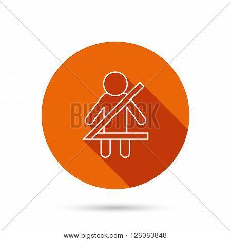 Fasten seat belt icon. Human silhouette sign. Round orange web button with shadow.