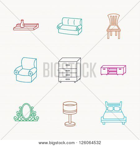 Double bed, table lamp and armchair icons. Chair, lamp and vintage mirror linear signs. Wall shelf, sofa and chest of drawers furniture icons. Linear colored icons.