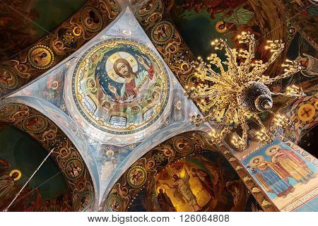 SAINT PETERSBURG, RUSSIA -APRIL 15, 2016: Interior of the Church of the Saviour on Spilled Blood.   Church was built on the site where Emperor Alexander II was fatally wounded in March 1881