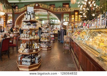 SAINT PETERSBURG, RUSSIA - APRIL 15, 2016: Interior of Yeliseev's Food Hall. Yeliseyev Grocery Store constructed in 1902-1903 for the Elisseeff Brothers, located at Nevsky Prospekt. It is one of the landmark of St. Petersburg