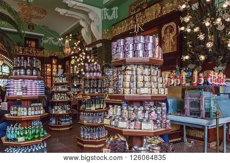 ST. PETERSBURG, RUSSIA - APRIL 15, 2016: Interior of Yeliseev's Food Hall. Yeliseyev Grocery Store constructed in 1902-1903 for the Elisseeff Brothers, located at Nevsky Prospekt. It is one of the landmark of St. Petersburg