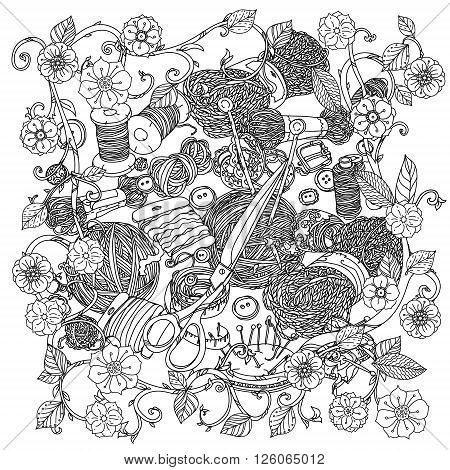 Needlework items black and white ornament. Clothes buttons, needles, thread, pins, scissors. Hand-drawn needlework items black and white ornament . For adult coloring book  in zenart style