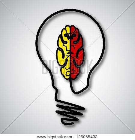 Incandescent and brain concept, vector art illustration.