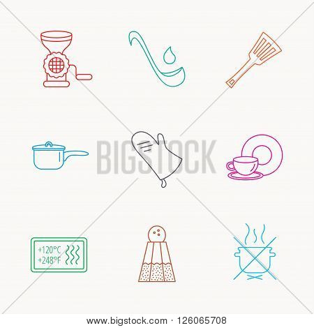 Soup ladle, potholder and kitchen utensils icons. Salt, not boil and saucepan linear signs. Meat grinder, water drop and coffee cup icons. Linear colored icons.