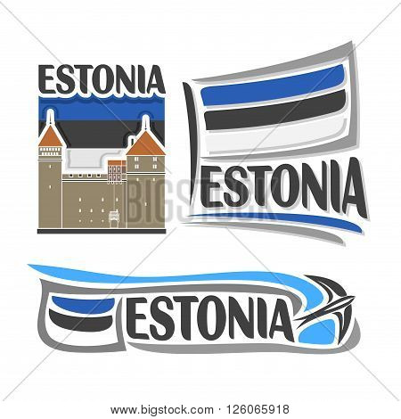 Vector logo for Estonia, consisting of 3 isolated illustrations: Kuressaare Episcopal Castle on background of national state flag, symbol of Estonia and estonian flag beside swallow barn close-up