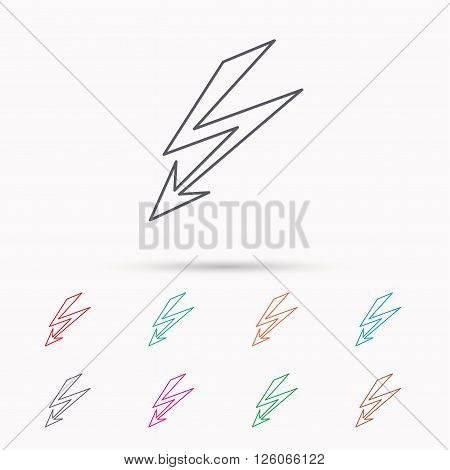 Lightening bolt icon. Power supply sign. Electricity symbol. Linear icons on white background.