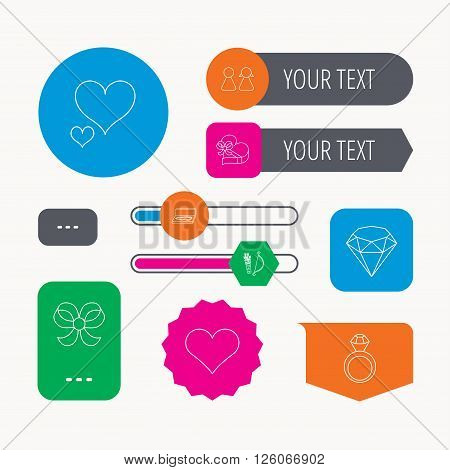 Love heart, brilliant and engagement ring icons. Bow, couple and gift box linear signs. Valentine amour arrows flat line icons. Web buttons and app menu navigation.
