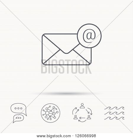 Envelope mail icon. Email message with AT sign. Internet letter symbol. Global connect network, ocean wave and chat dialog icons. Teamwork symbol.