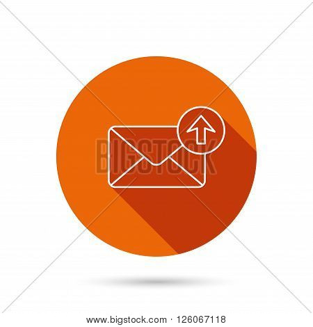 Mail outbox icon. Email message sign. Upload arrow symbol. Round orange web button with shadow.
