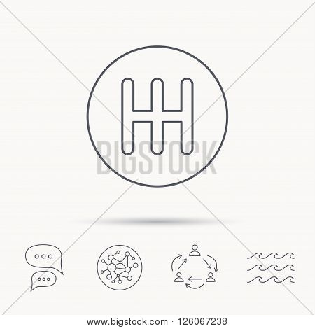 Manual gearbox icon. Car transmission sign. Global connect network, ocean wave and chat dialog icons. Teamwork symbol.