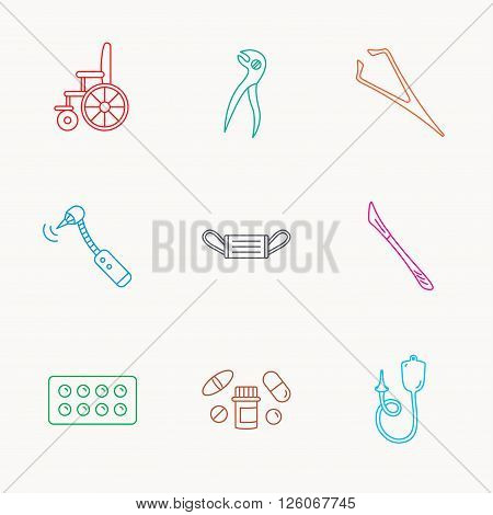 Medical mask, pills and dental pliers icons. Tablets, drilling tool and wheelchair linear signs. Enema, scalpel and tweezers flat line icons. Linear colored icons.
