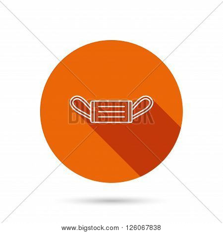 Medical mask icon. Epidemic sign. Illness protection symbol. Round orange web button with shadow.