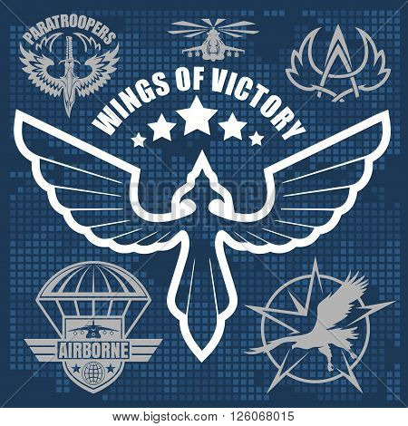 Paratroopers - Special unit military emblem set vector design template