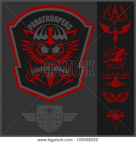 Paratroopers - Special unit military emblem set vector design template