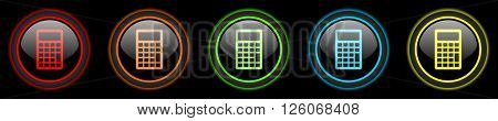 calculator colored web icons set on black background