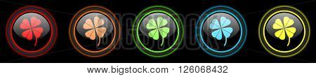 four-leaf clover colored web icons set on black background