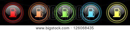 petrol colored web icons set on black background