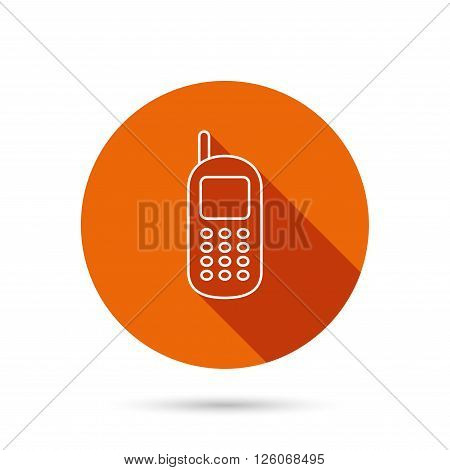 Mobile phone icon. Cellphone with antenna sign. Round orange web button with shadow.